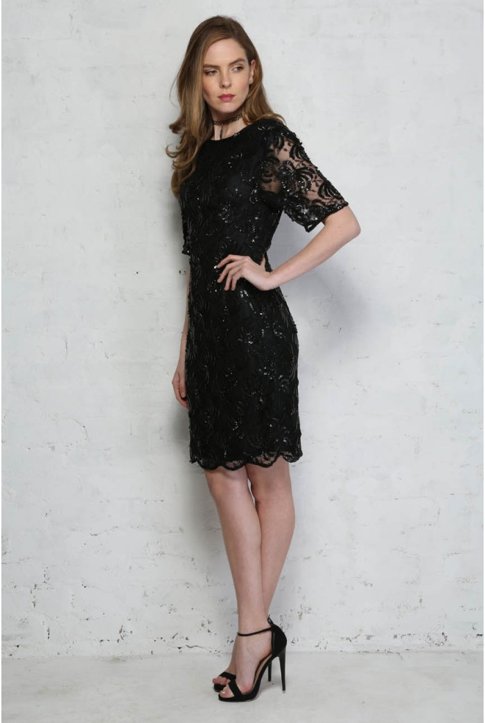Black Beaded Shift Dress