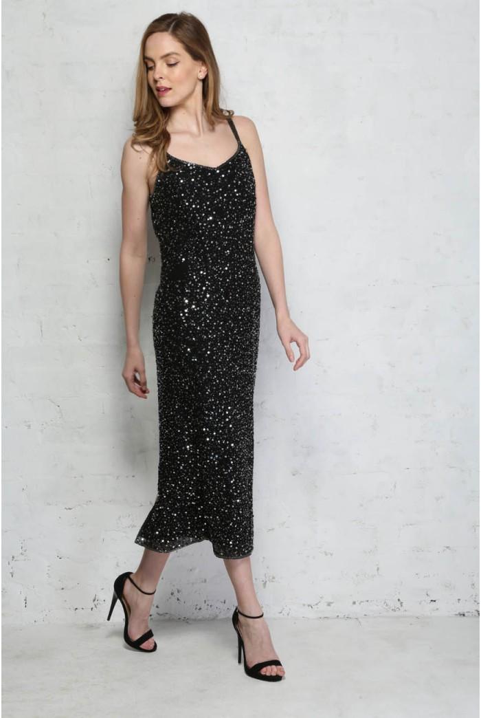 Vintage Black Sequinned Dress
