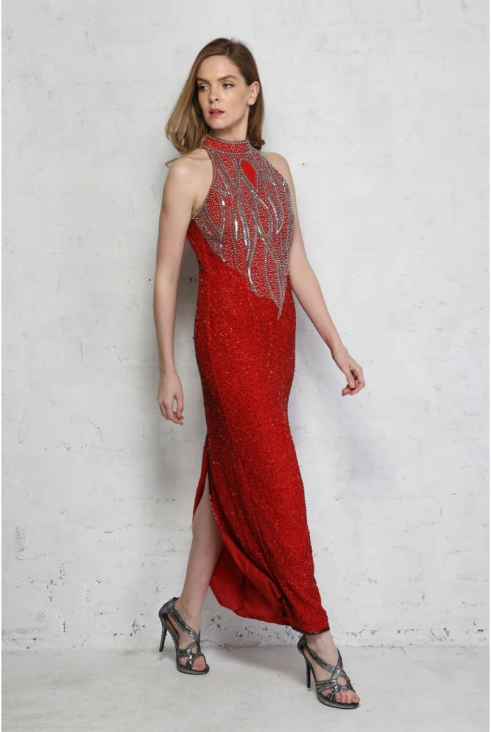 Red Beaded Maxi Dress