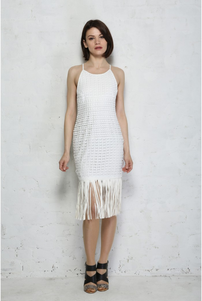 White Leather Fringed Flapper Dress