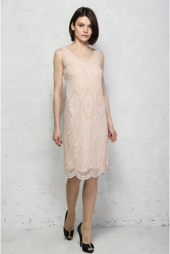 Pink Scalloped Flapper Dress