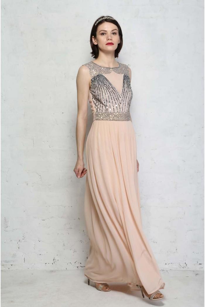 Pink Art Deco Maxi Dress
