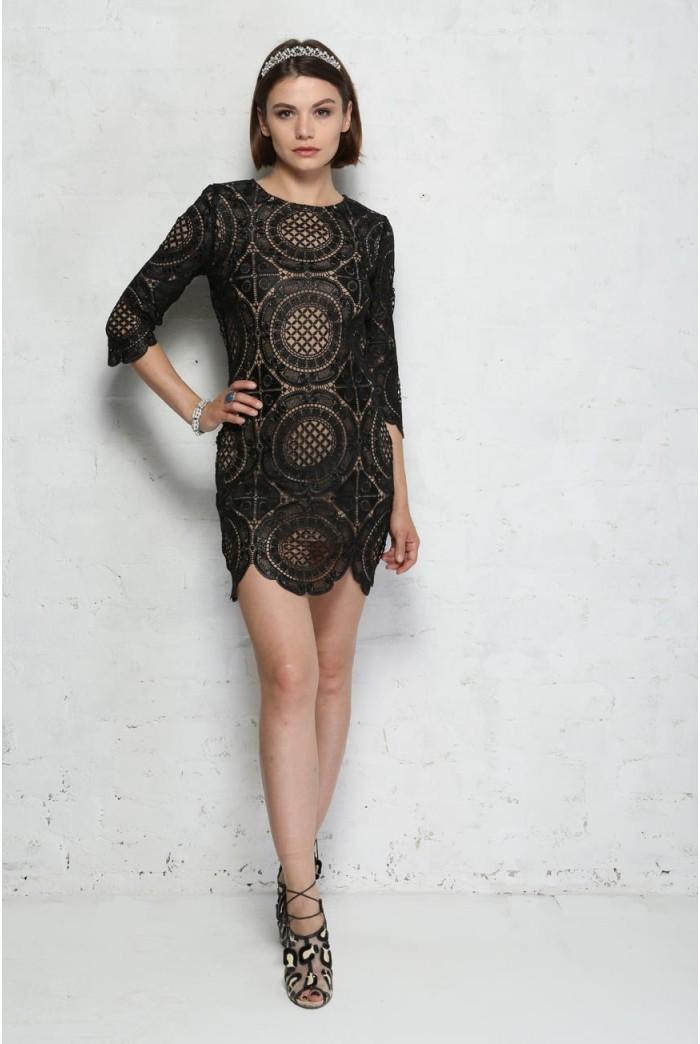 Black Embroidered Lace Mini Dress