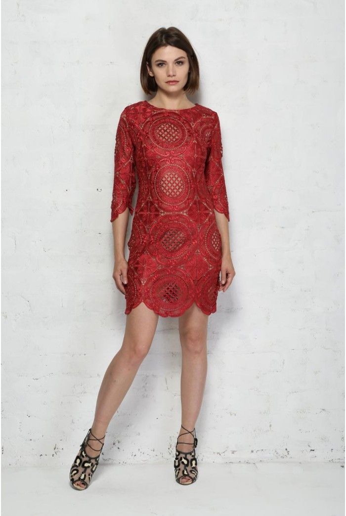 Red embroidered lace mini dress floral