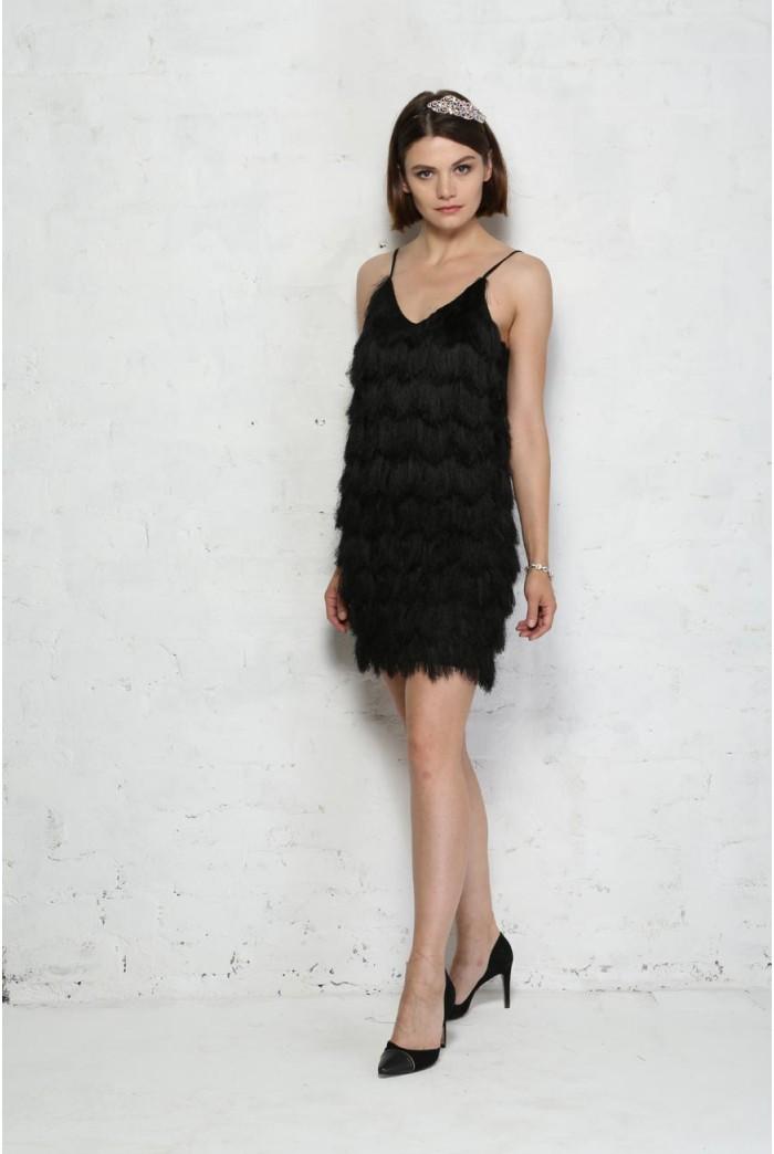 Fringed Flapper Dress - Black