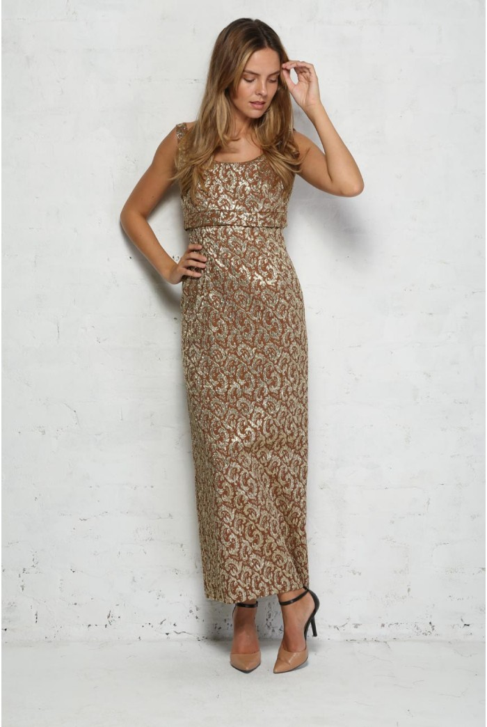 Gold Brocade Maxi Dress