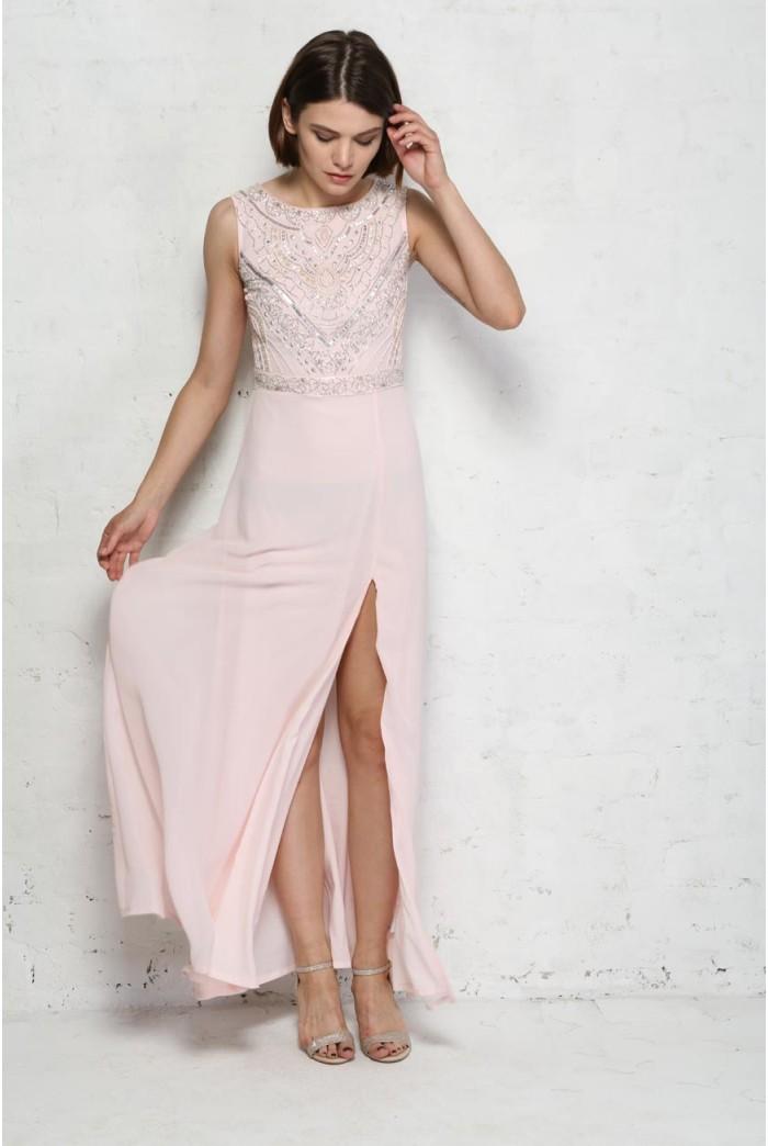 Pink Beaded Maxi Dress