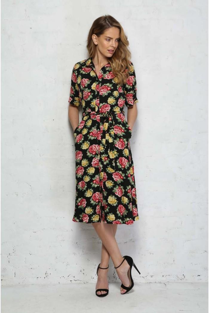 Sugarhill Boutique Faye Floral Midi Shirt Dress