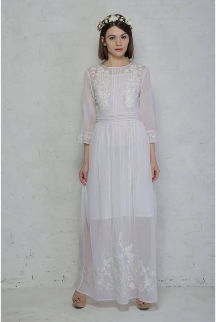 White 1970s Prairie Dress Lace Maxi Dress