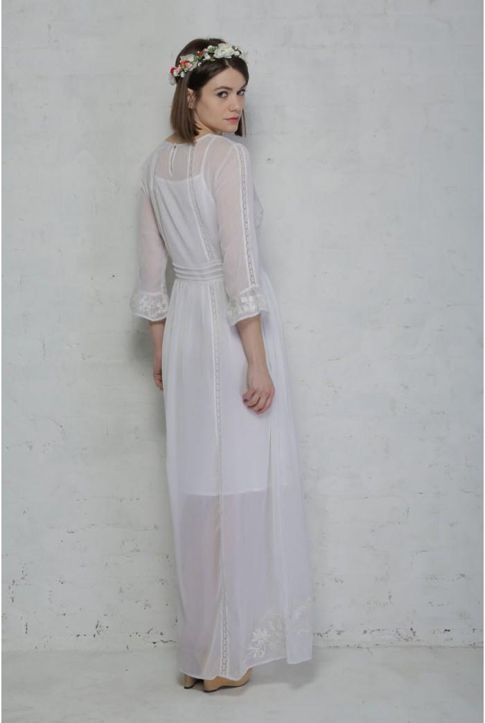 White 1970s Prairie Dress Lace Maxi Dress