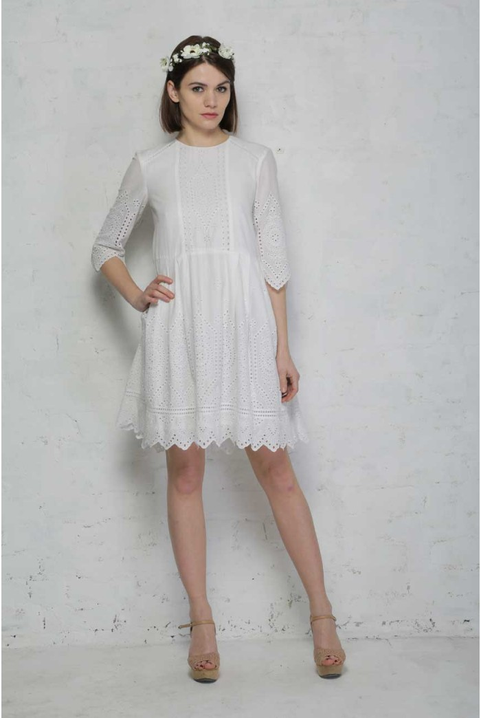 White 1970s Summer Dress Broderie Anglaise Dress