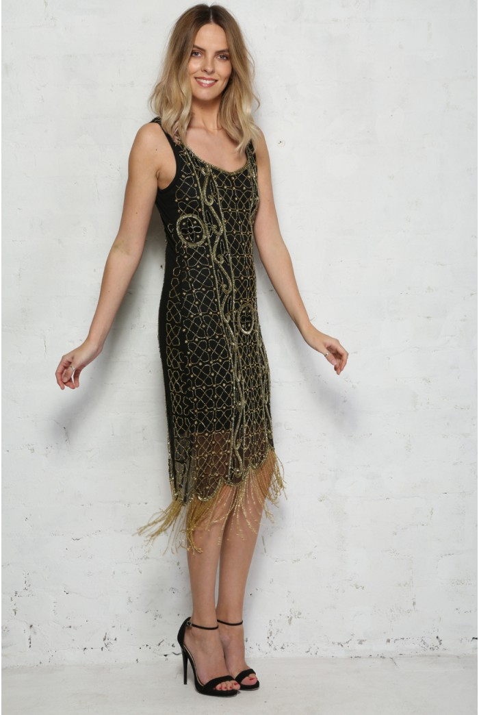 Gold And Black Flapper Dress