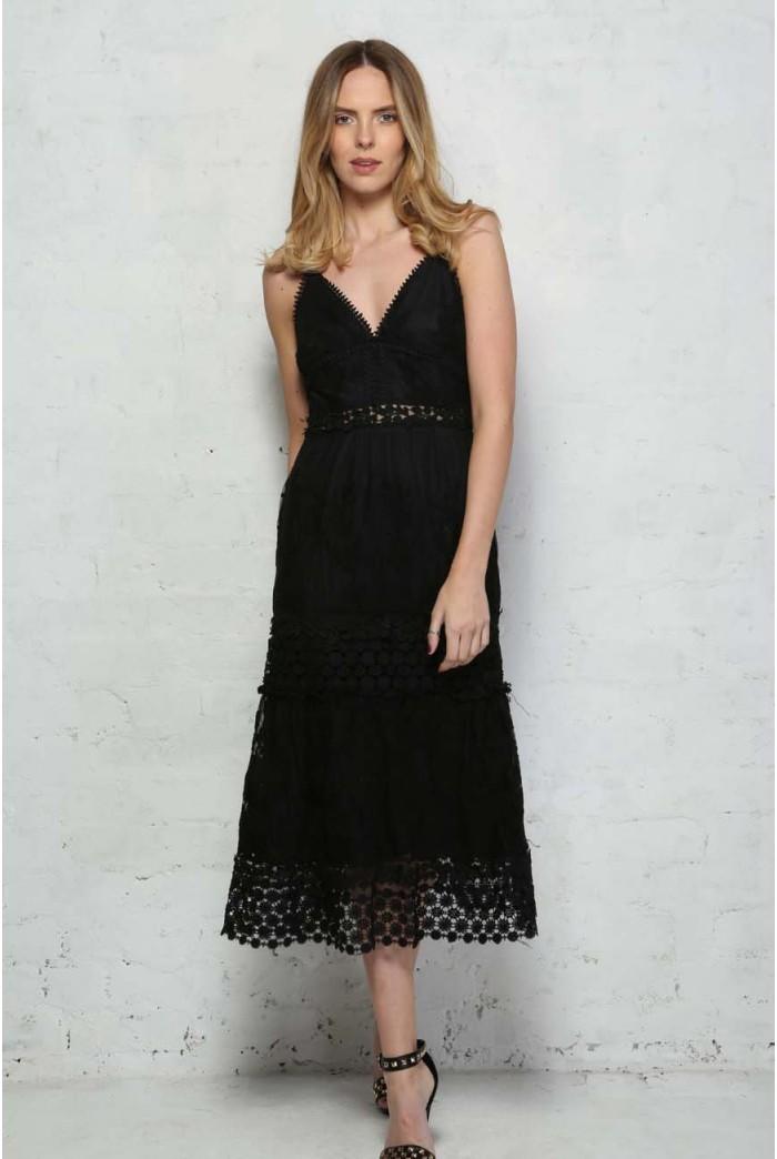 Black Crochet Midi Dress