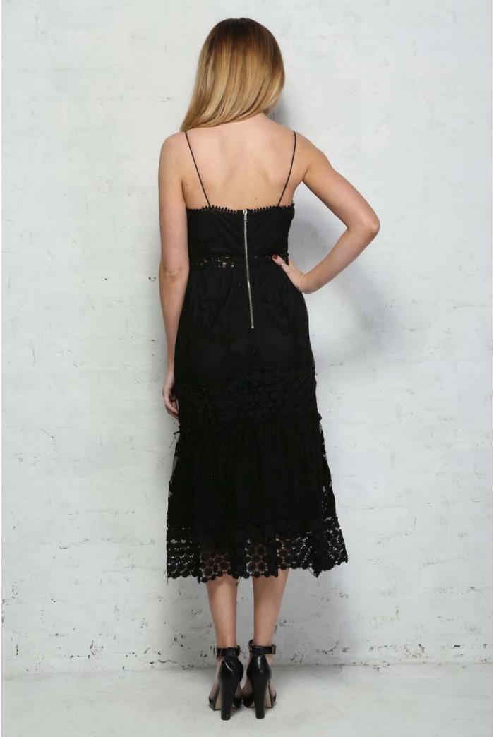 Black Crochet Midi Dress Boho Maxi Dress