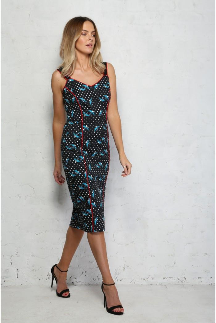 Samira Rockabilly Swallows Dress