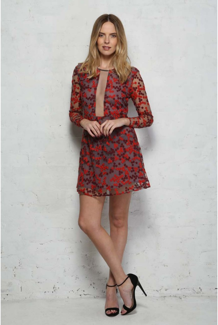 Red Long Sleeved Floral Dress