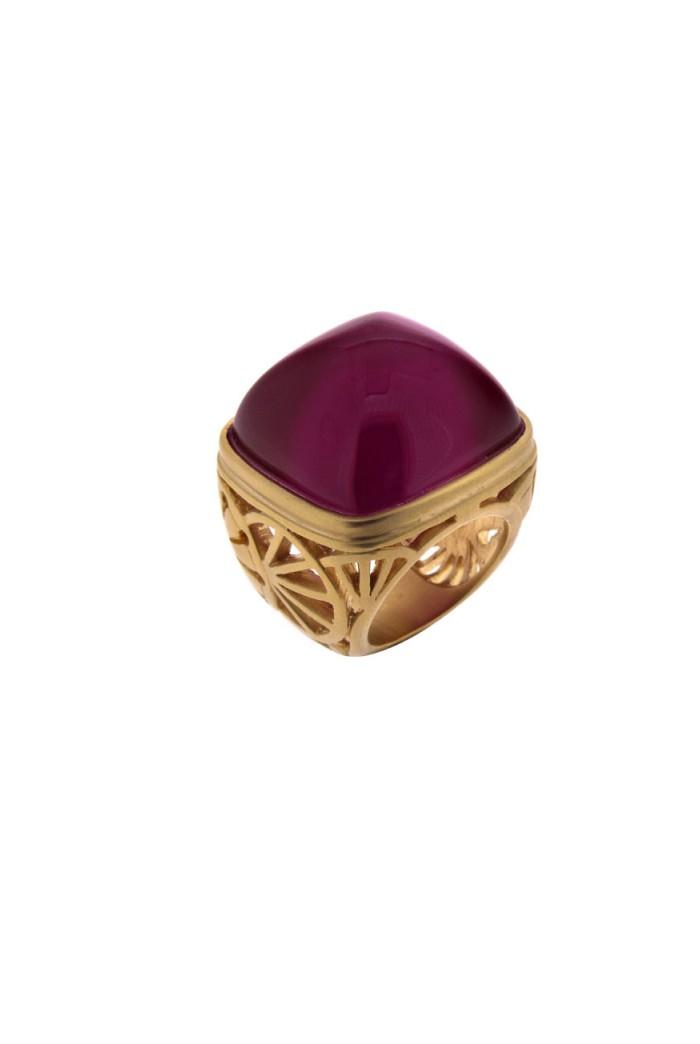 Lucas Jack Ornate Gold Ring Pink