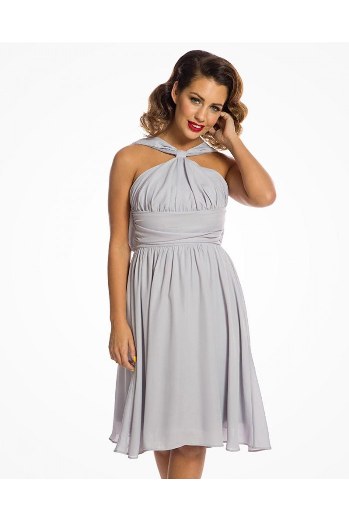 Grey Halterneck Prom Dress