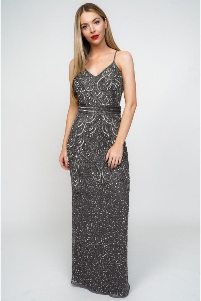 Grey 1920s Maxi Dress