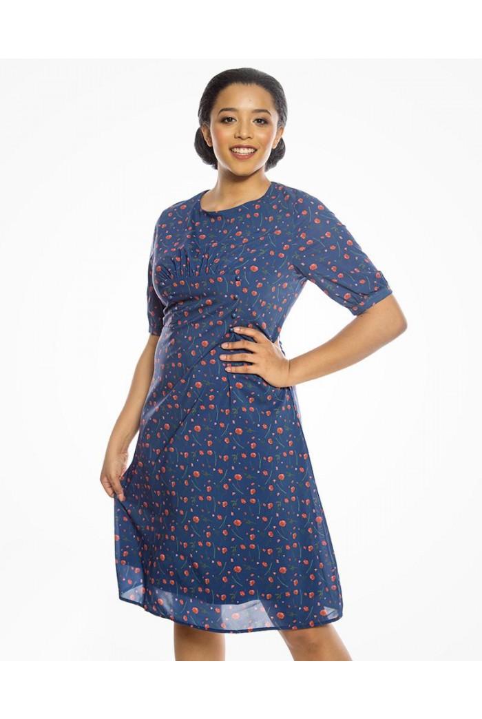 Blue Poppy Print Tea Dress