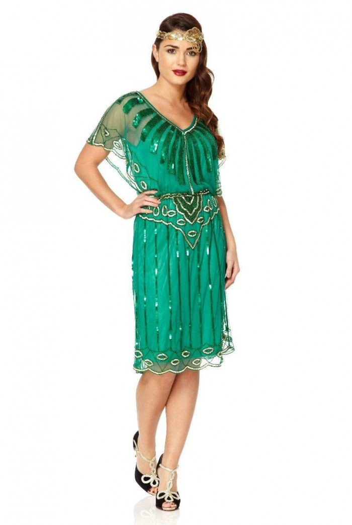 Green Scalloped Flapper Dress