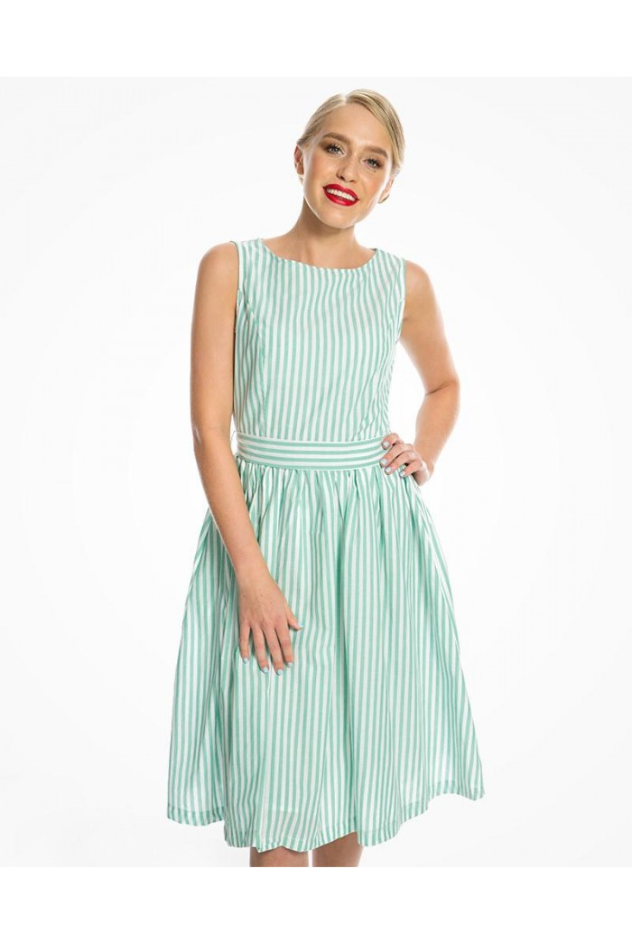 Green Striped Prom Dress