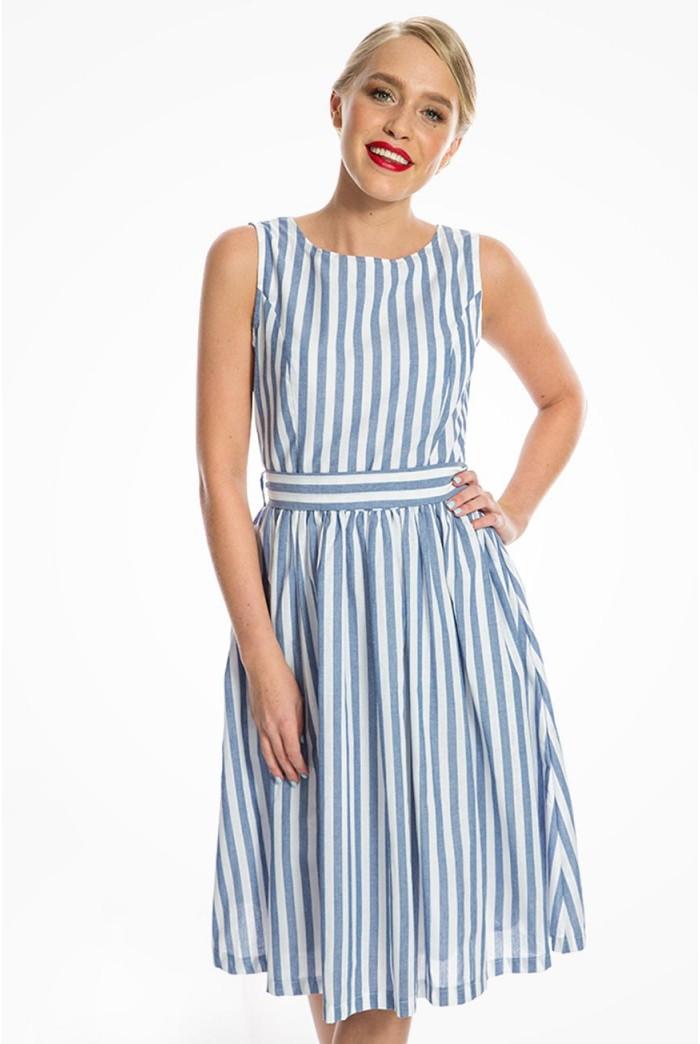 Blue Striped Prom Dress