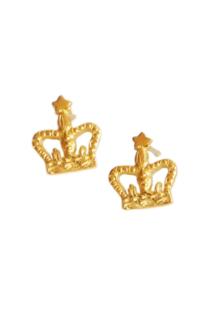 Bark Gold Crown Earrings