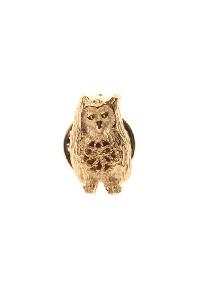 Bark Gold Owl Brooch