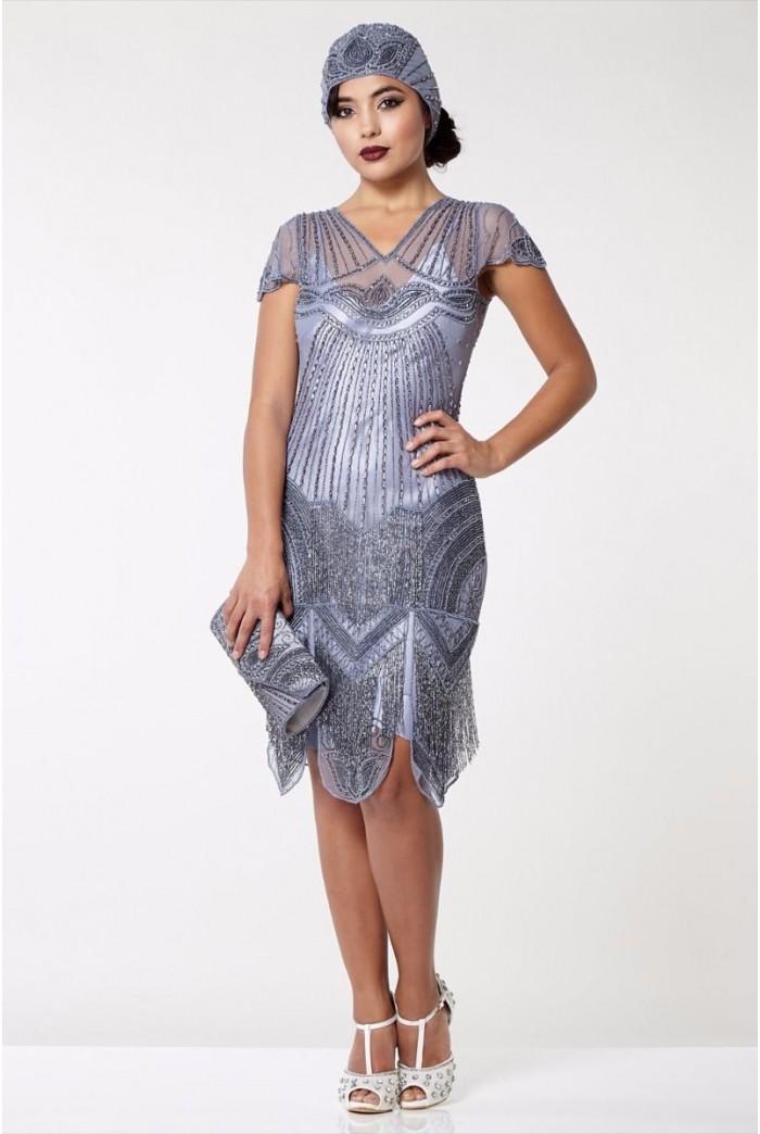 Lilac Fringed Flapper Dress