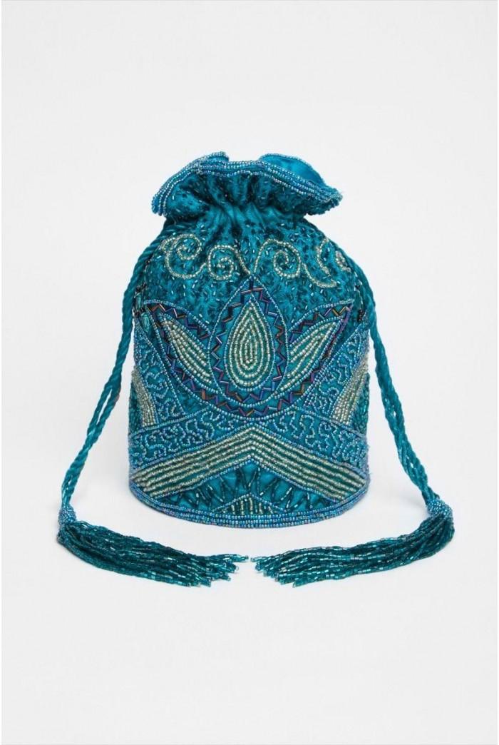 Beatrice Hand Embellished Bucket Bag in Teal