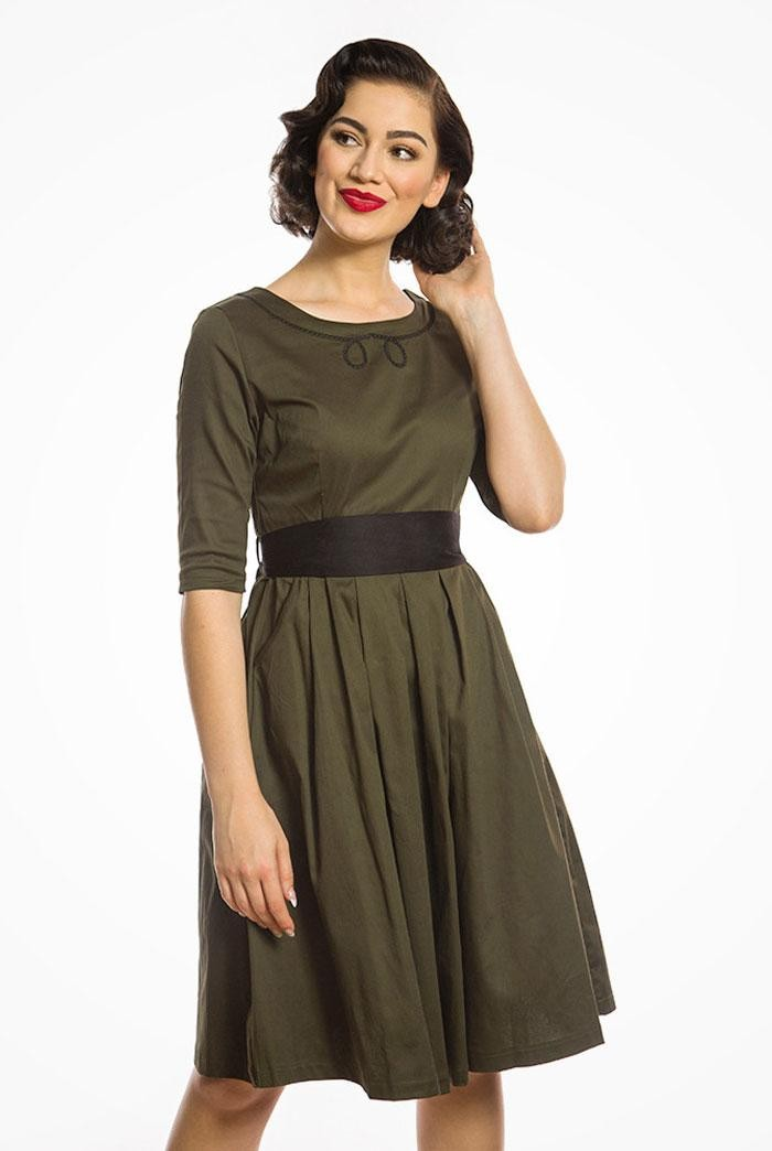 Green Sleeved Swing Dress