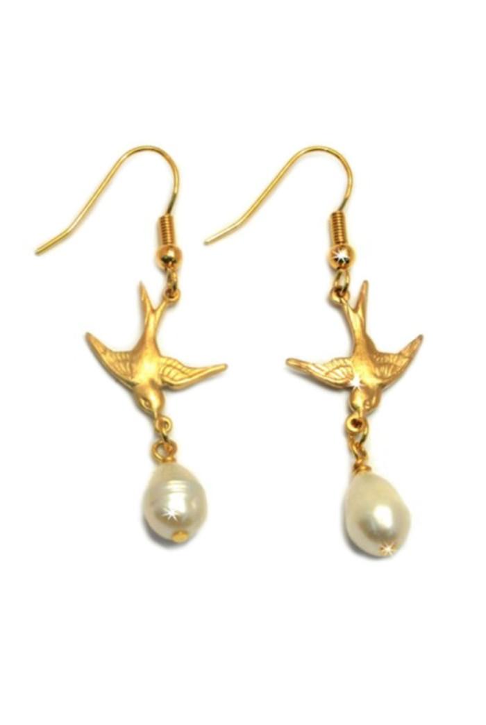 Gold Swallow Pearl Earrings