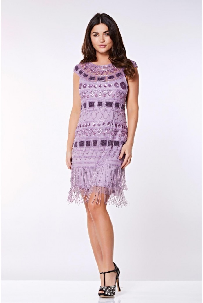 Beverley Vintage Inspired Fringe Flapper Dress in Lilac 1