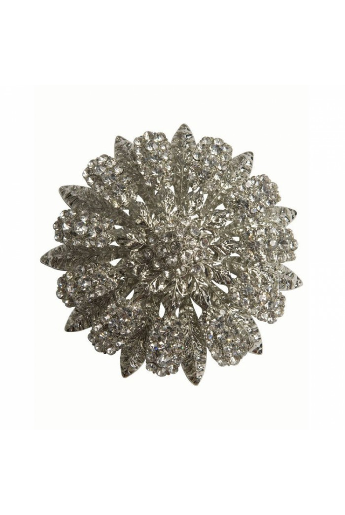 Diamante Leaf Brooch