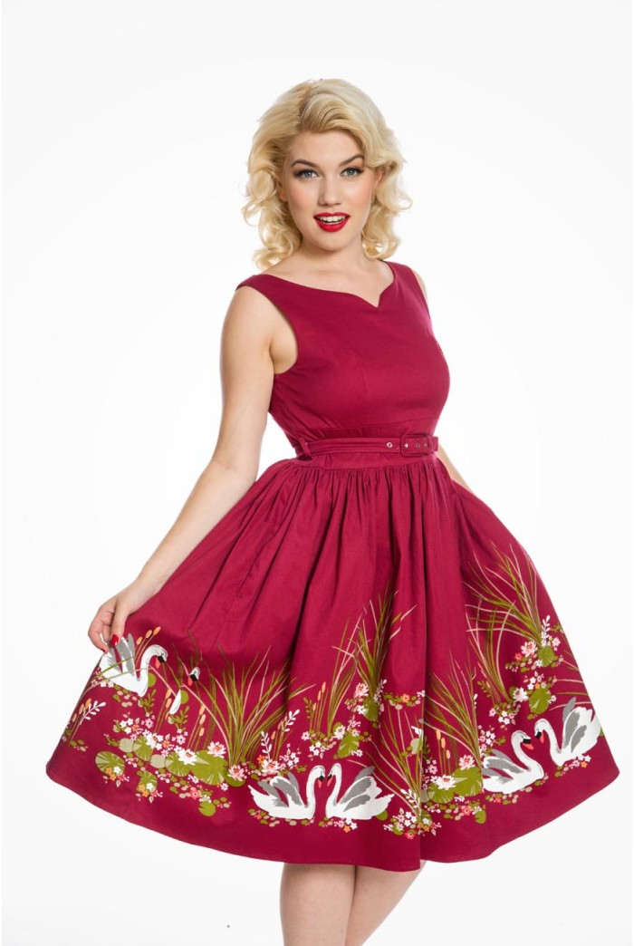 Red Swan Print Prom Red Fit Amp Flare Dress