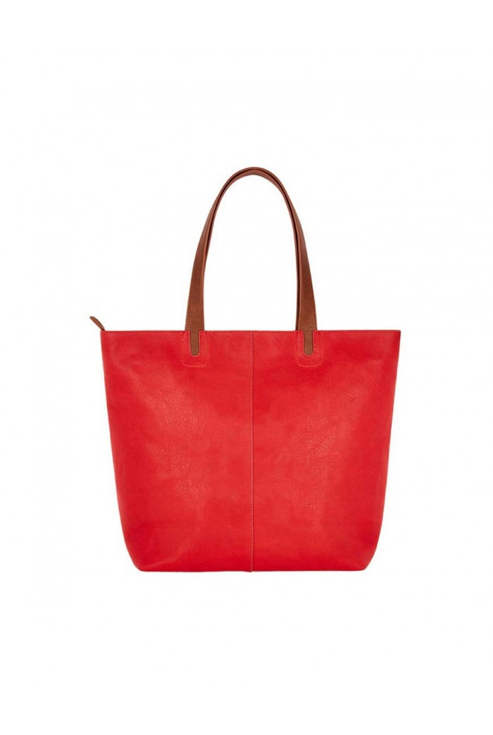 Red And Tan Shopper Bag