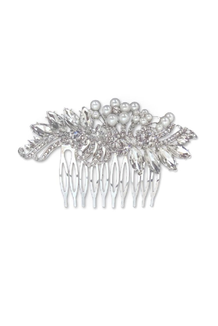 Silver Floral And Pearl Hair Comb