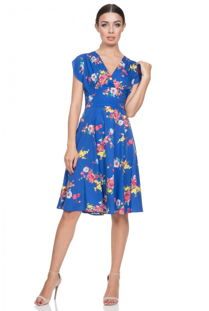 Blue Floral Tea Dress