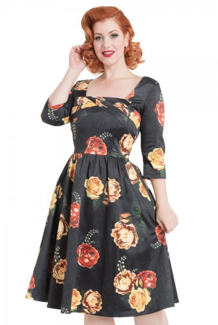 Long Sleeved Floral Prom Dress