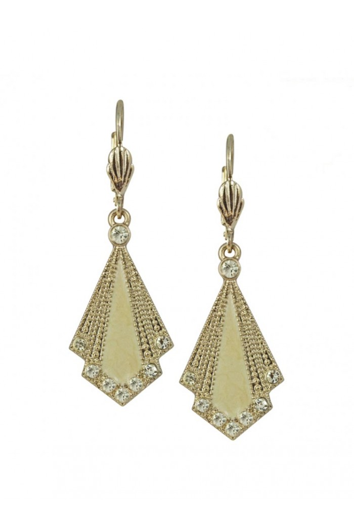 Cream Art Deco Earrings