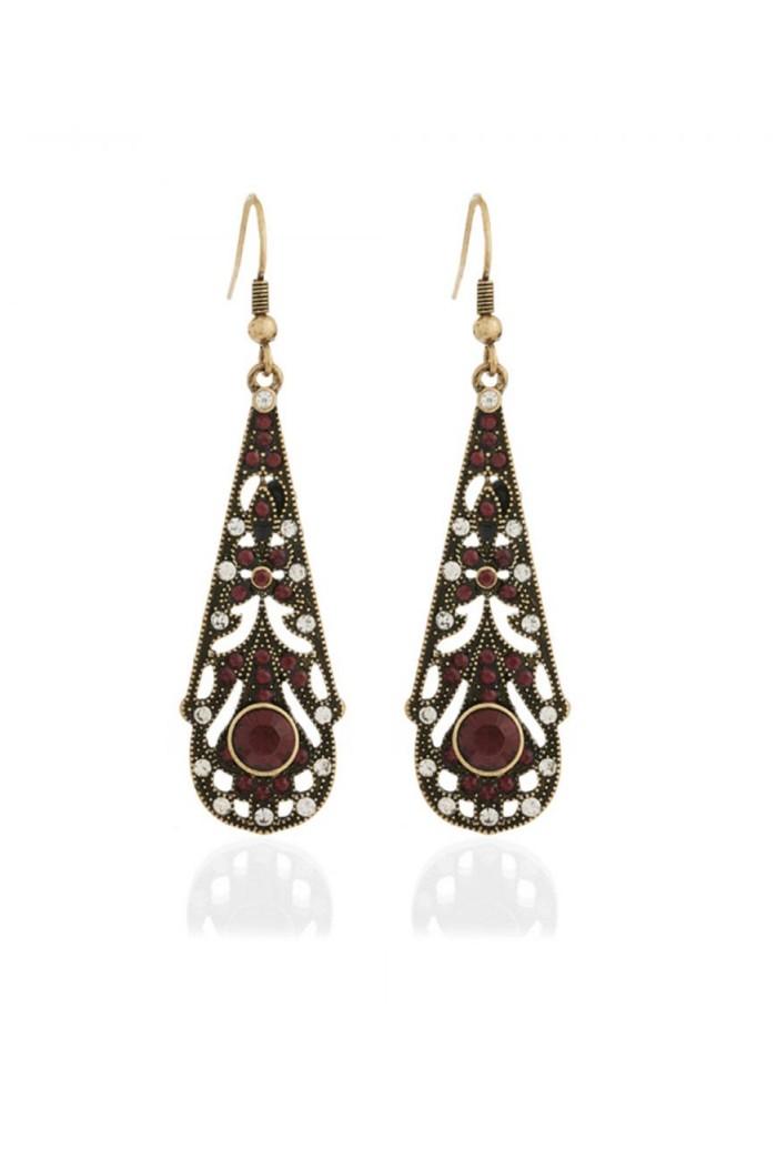 Red Art Deco Earrings