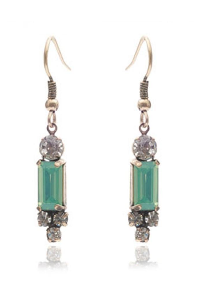Green Art Deco Earrings