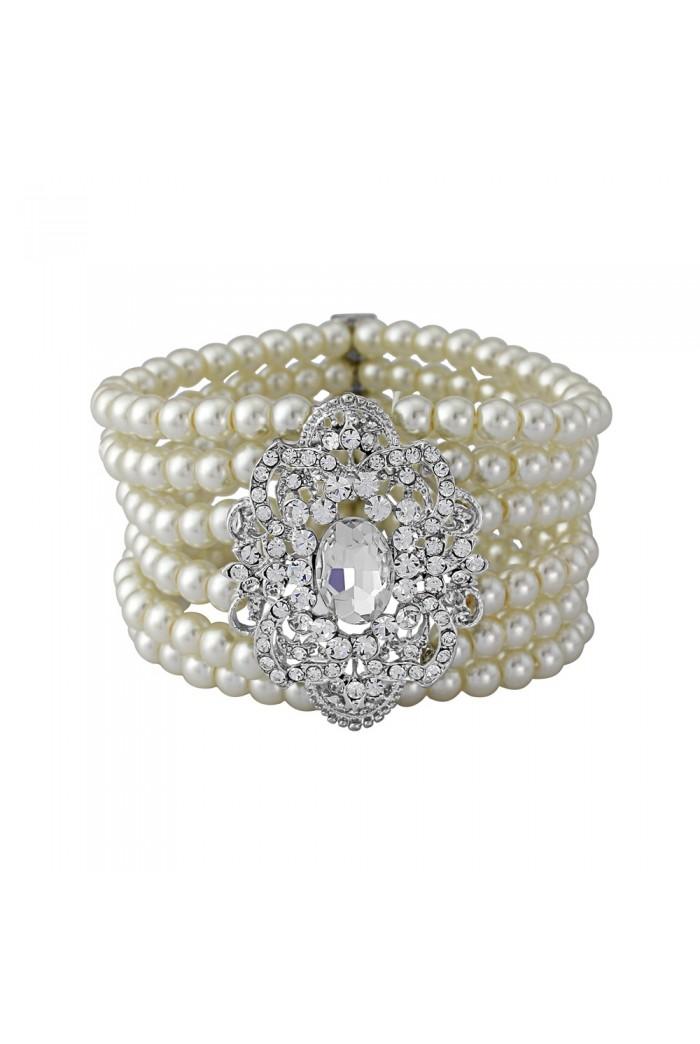 Vintage Pearl And Crystal Bracelet