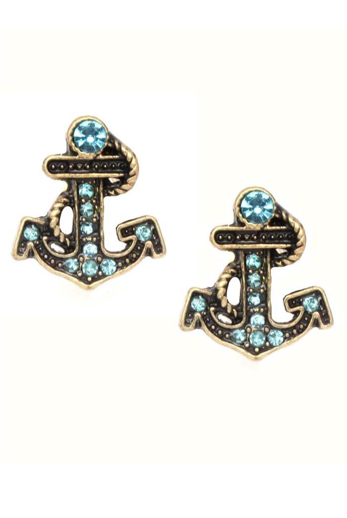 Anchor Earrings Vintage Style Earring Blue Nautical