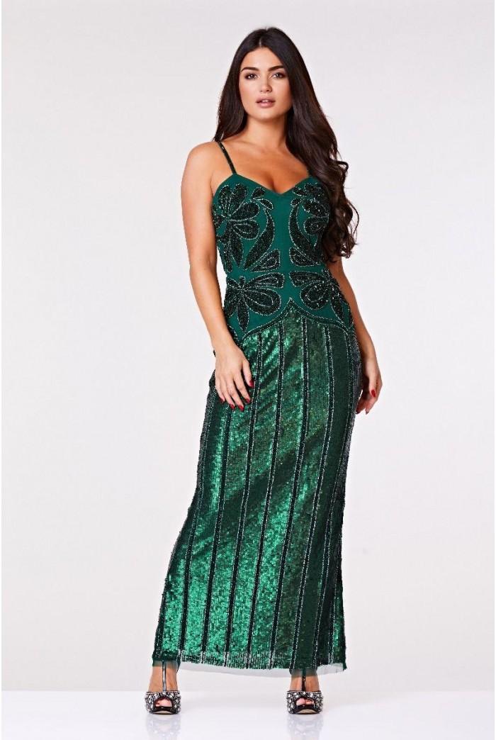 Green 1920s Maxi Dress