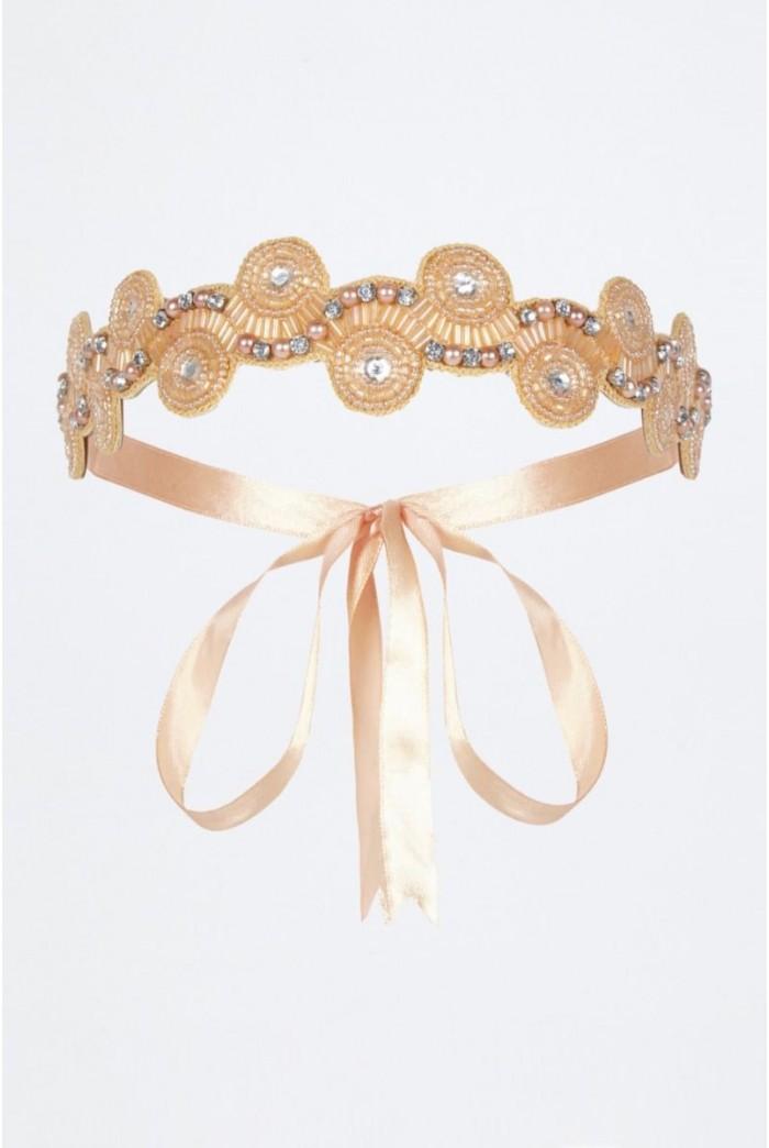 Eliza Flapper Headband in Nude Blush