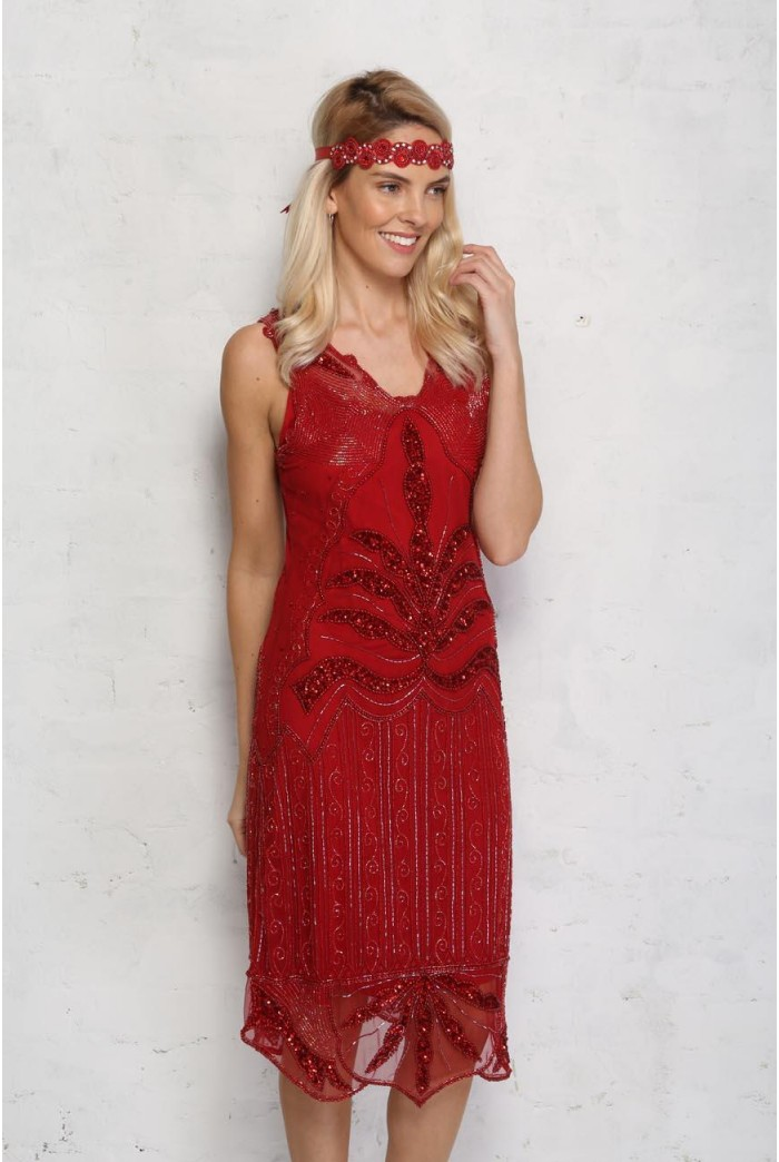 Red Beaded 1920s Dress