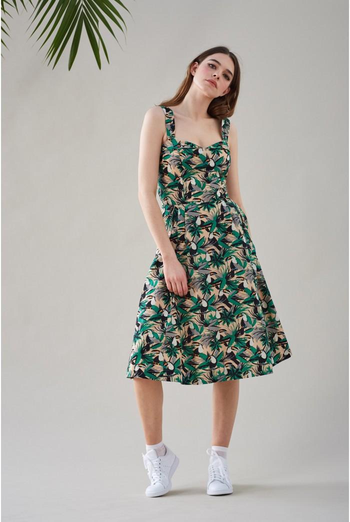 Toucan Print Summer Dress
