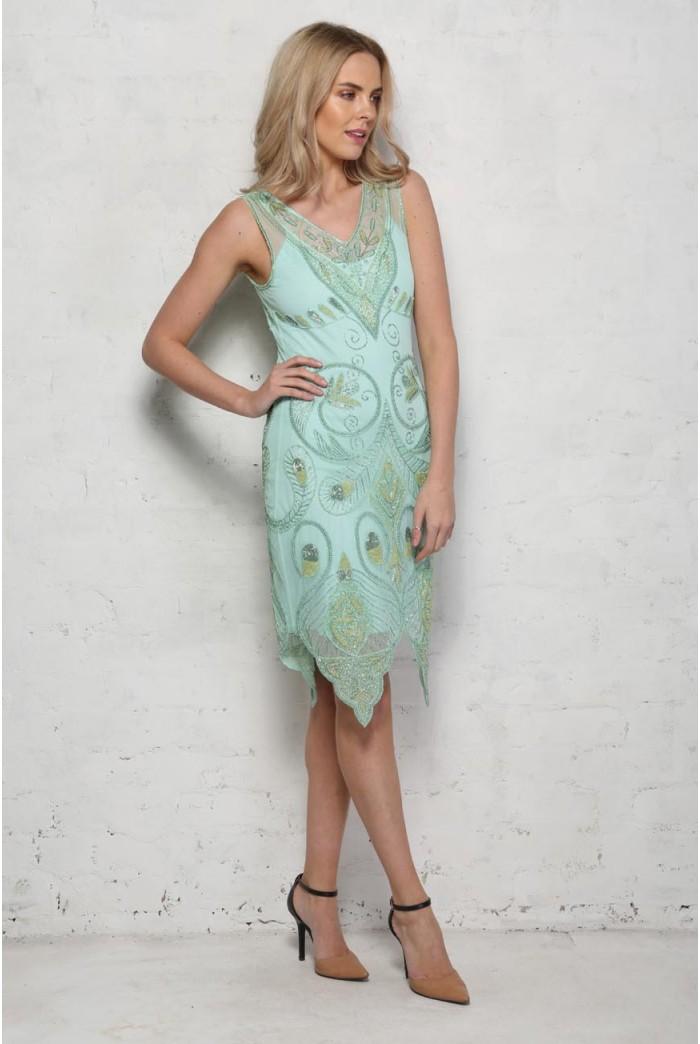 Mint Green Beaded Flapper Dress